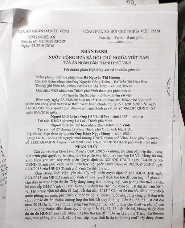 Phán quyết của Tòa án nhân dân TP Vinh (Nghệ An) cho rằng, UBND thành phố Vinh thu hồi đất là chưa đúng quy định pháp luật.