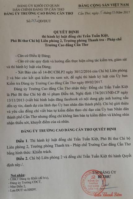 Quyết định kỷ luật Đảng đối với ông Trần Tuấn Kiệt.
