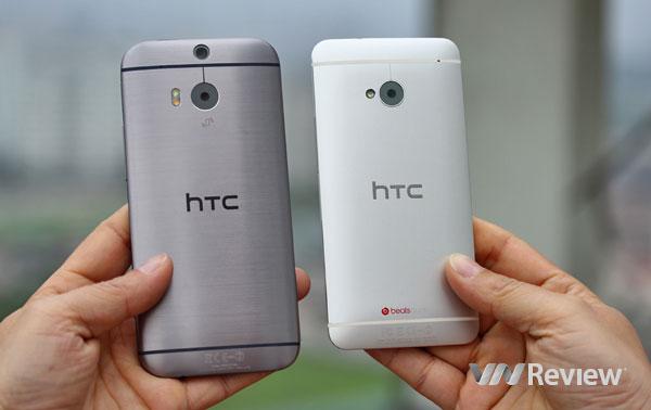 HTC One M8 (trái) và One M7 (phải)