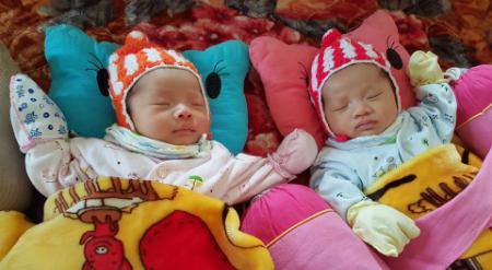 Hai bé Minh Phúc, Minh Tuệ chào đời đầu năm 2017, mang lại niềm hạnh phúc vô bờ cho bố mẹ. Ảnh: NVCC.