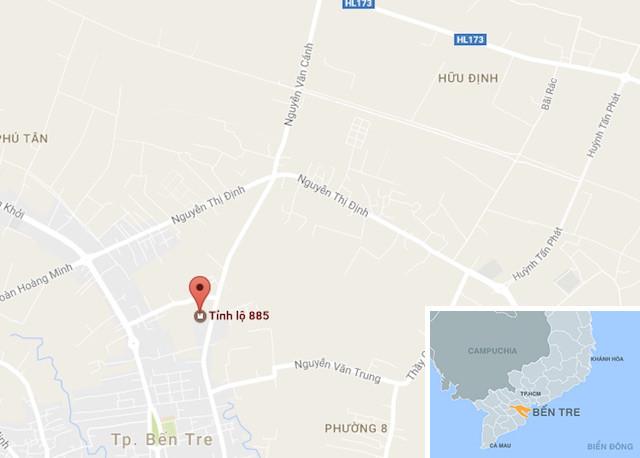 Tỉnh lộ 885 vòng qua đường Nguyễn Thị Đinh, gần bãi rác nơi phát hiện thi thể nạn nhân. Ảnh: Google Maps.