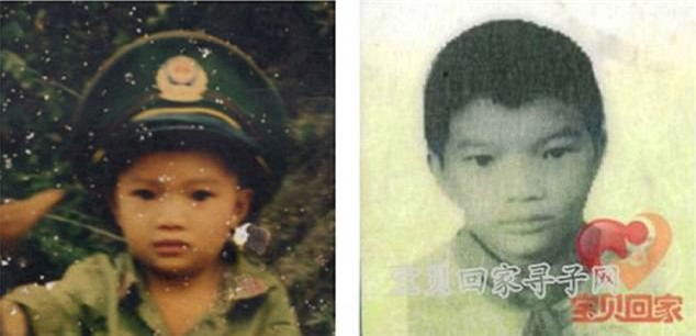 Bức ảnh năm Fu Gui 4 tuổi do gia đình cung cấp (trái) và bức ảnh vào năm 10 tuổi do chính Fu Gui đăng tải (phải) trên trang web Baby Come Home.