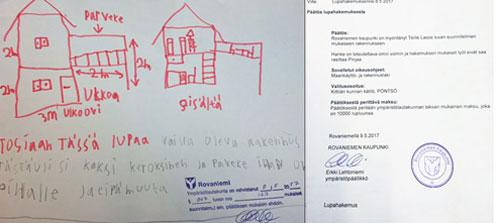 Bản vẽ ngôi nhà và giấy cấp phép xây dựng.