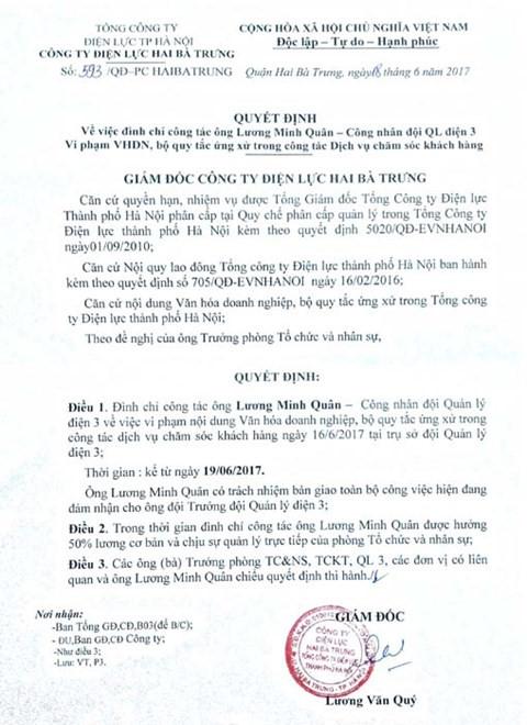 Quyết định đình chỉ công tác công nhân Lương Minh Quân.