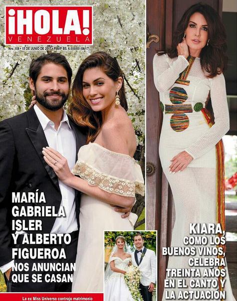 Hoa hậu và vị hôn phu chụp ảnh tình cảm trên tạp chí Hola của Venezuela.