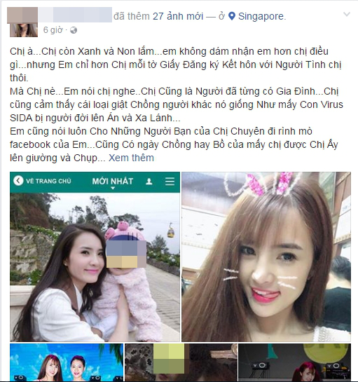 Liên tiếp những status tố cáo của chị vợ nhằm vào Khánh Chi, chỉ trích cô đã ngoại tình còn ngang nhiên thách thức không e dè (nguồn: FB chị L.N)