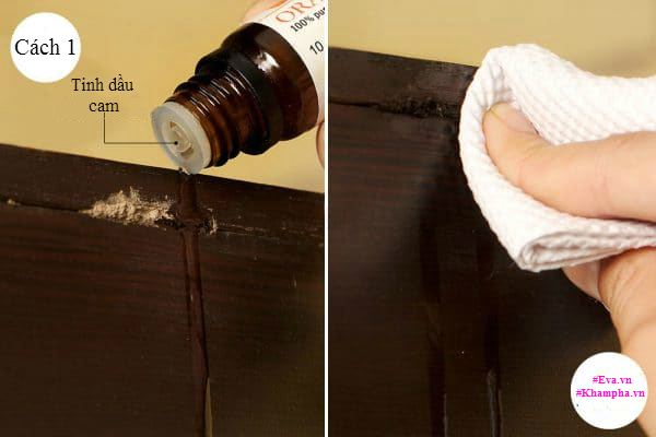 Đầu tiên, hãy xác định các vị trí mà mối, mọt trú ngụ, sau đó khoan lỗ và bơm tinh dầu cam vào bên trong. Hãy bơm vào vị trí đó liên tục trong vòng 2-3 ngày để chấm dứt hoàn toàn sự hoạt động của mối. Bạn cũng nên sử dụng tinh dầu cam vài lần trong mỗi tháng để ngăn ngừa chúng phá đồ gỗ khác.