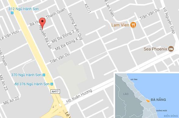 Đường Nguyễn Bá Lân (Đà Nẵng), gần nơi xảy ra vụ việc. Ảnh: Google Maps.