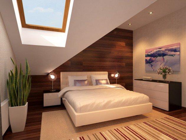 2. Bức tường đầu giường ốp gỗ và khu giếng trời mang đến cho phòng ngủ này thật nhiều ánh sáng và cá tính. Những chậu xanh, đồ trang trí được tiết chế một cách vừa phải cũng góp phần giúp không gian tổng thể thật hài hòa.