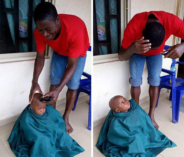Khi cậu bắt đầu cắp sách đến trường, cậu được cắt tóc.