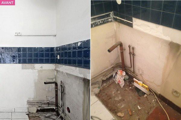 Họa tiết gạch màu xanh trên tường cũng làm cho bếp trở nên tối và nhỏ hơn.