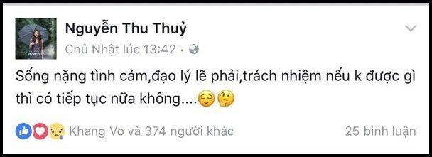 Trước đó, Thu Thủy cũng chia sẻ những status úp mở về chuyện tình cảm đang rơi vào vực thẳm.