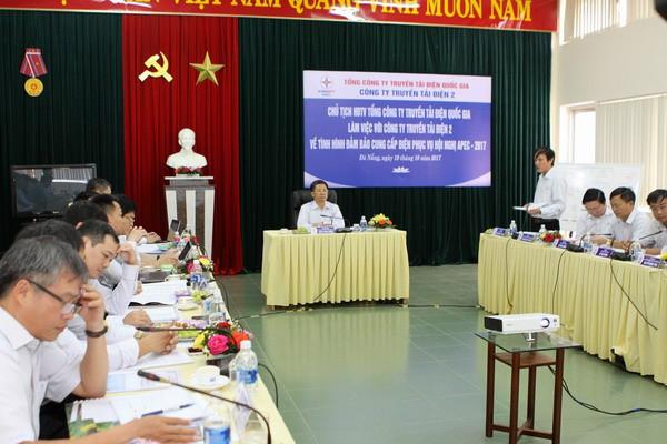 Ông Đặng Phan Tường - Chủ tịch HĐTV EVNNPT làm việc với PTC2 về tình hình vận hành cung cấp điện phục vụ Hội nghị APEC.