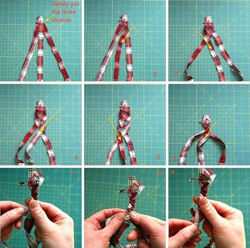 Lấy 3 dải vải vừa cắt tết sam ba như cách tết tóc đơn giản, tạo thành một dây thừng dài.