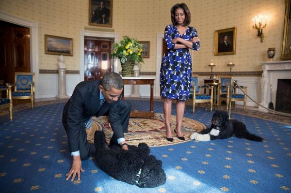 Hai vợ chồng trong lúc chờ đón khách thăm Phòng Xanh ở Nhà Trắng tháng 11/2013.