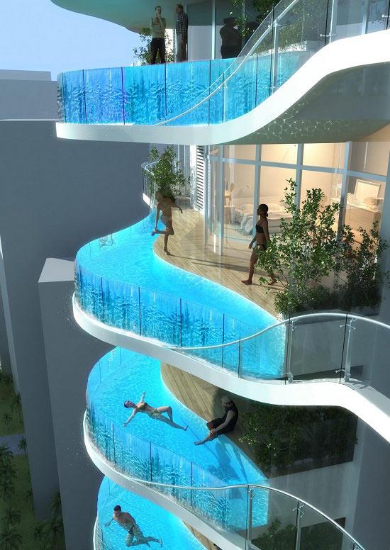 Bể bơi vô cực được xây ngay tại...ban công nhà.