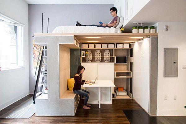 Thiết kế tiết kiệm được diện tích nhà một cách đáng kể, lại khá mới lạ và độc đáo.