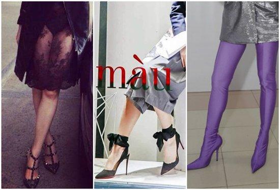 Từ trái sang, giày Rockstud của Valentino giá 20 triệu, giày Douce Du Desert của Christian Louboutin giá 20 triệu và đôi boot tím của Balenciaga giá 31 triệu đồng.