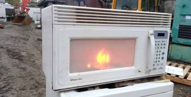 Đồ kim loại bốc cháy trong lò vi sóng.