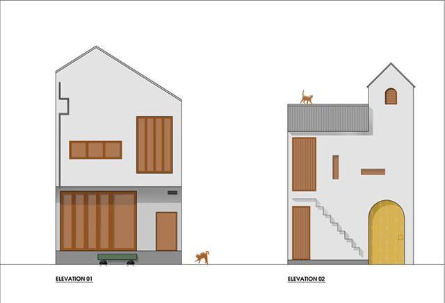 Bản vẽ mô tả mặt cắt dọc ngôi nhà.
