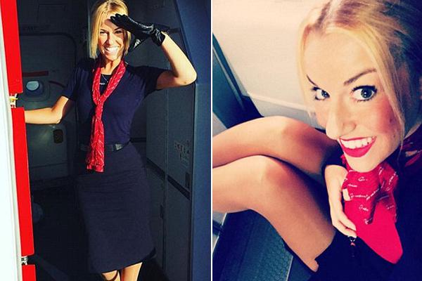 Rainam, tiếp viên hãng Nowegian Airlines, khoe thân hình mảnh mai và nụ cười rạng rỡ trong bộ đồng phục hàng không.