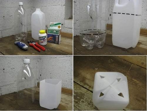 Cắt 2 chai nhựa đã chuẩn bị như hình. Chiếc can nhựa 5 lít đục thêm 3-4 lỗ nhỏ dưới đáy để thuận tiện cho việc hoát nước, tránh làm ngập úng gây chết cây.