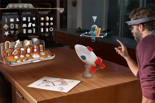 Kính HoloLens hiển thị các vật thể ngay trong môi trường thực để người dùng tương tác.