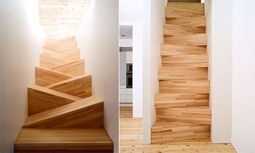 Thiết kế cầu thang ziczac gỗ siêu sáng tạo lại tiết kiệm diện tích cho căn nhà nhỏ của bạn.