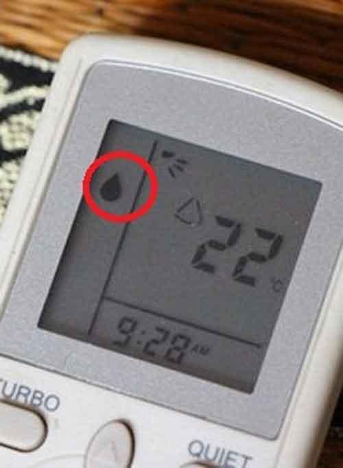 Biểu tượng giọt nước sẽ xuất hiện khi chọn chế độ Dry