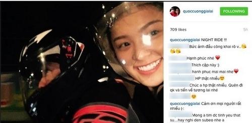 Ngày 13/3/2016, doanh nhân phố núi lần đầu tiên khoe ảnh bạn gái Hạ Vi công khai trên Instagram với nụ cười rạng rỡ.