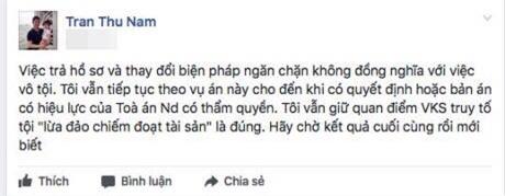 Trước đó, luật sư Trần Thu Nam cũng cho rằng, thay đổi biện pháp ngăn chặn không có nghĩa là vô tội