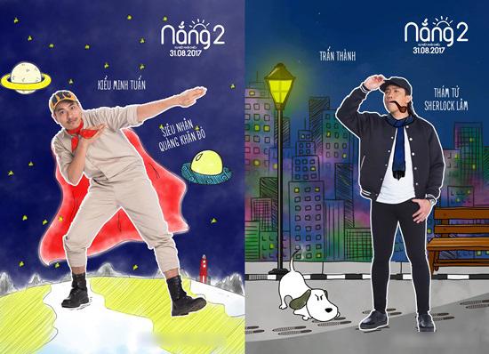 Tạo hình của Kiều Minh Tuấn và Trấn Thành trong phim.