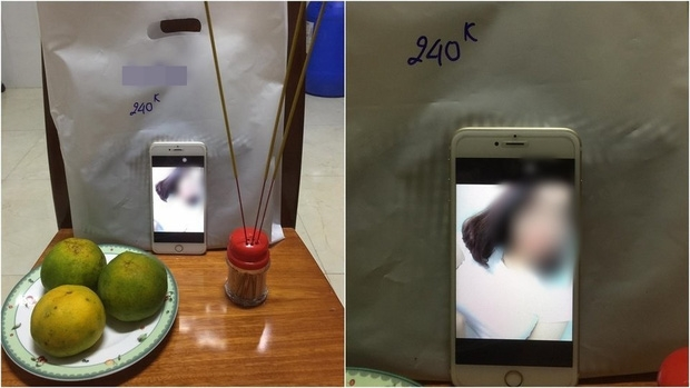 Hình ảnh vị khách bị chủ shop đem ra lập bàn thờ giả. Ảnh: Facebook