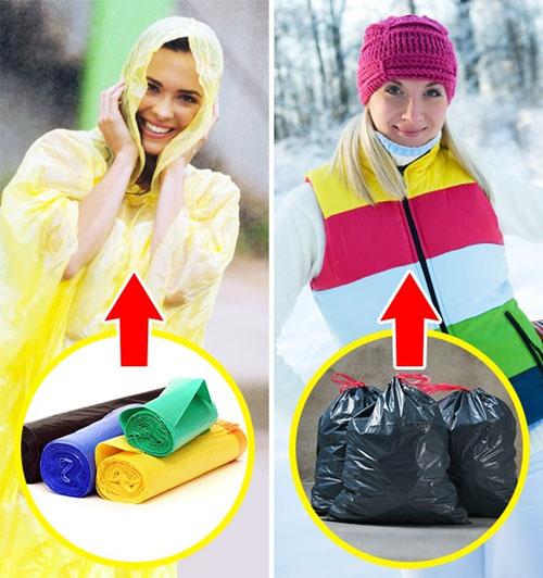 Trong hành trình mang theo, chắc chắn bạn sẽ không quên những chiếc túi bóng để đựng rác nhằm bảo vệ môi trường. Nhưng bạn có biết rằng những chiếc túi như vậy có thể dễ dàng biến thành một chiếc áo mưa hay màng chắn thấm nước cho các vật dụng của mình không? Hãy tận dụng tác dụng tuyệt vời này của túi bóng. Ngoài ra, túi còn có tác dụng bảo vệ bạn khỏi bị lạnh. Hãy quấn túi lên người, sau đó mặc hết số quần áo bạn có. Cách đó sẽ giúp bạn giữ ấm.