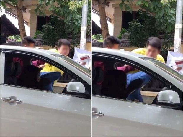 Hình ảnh nam thanh niên mặc áo vàng liên tiếp đạp vào người, mặt cô gái trong xe ô tô. Ảnh Beatvn