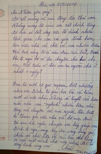 Bức thư được đăng lên Facebook để có nhiều người làm chứng, cho anh Chiến thêm quyết tâm và động lực thay đổi thành ông bố tốt.