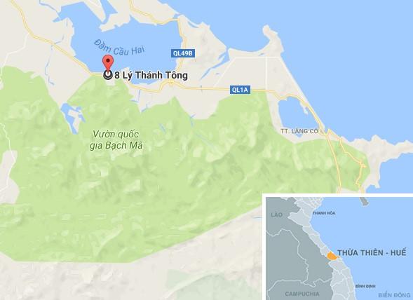 Khu vực đèo Đá Bạc (thị trấn Phú Lộc), địa điểm xảy ra vụ tai nạn. Ảnh: Google Maps.