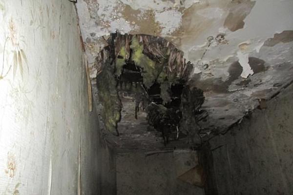 Nhà tắm không có sàn, và nước cứ liên tục rỉ xuống từ trần