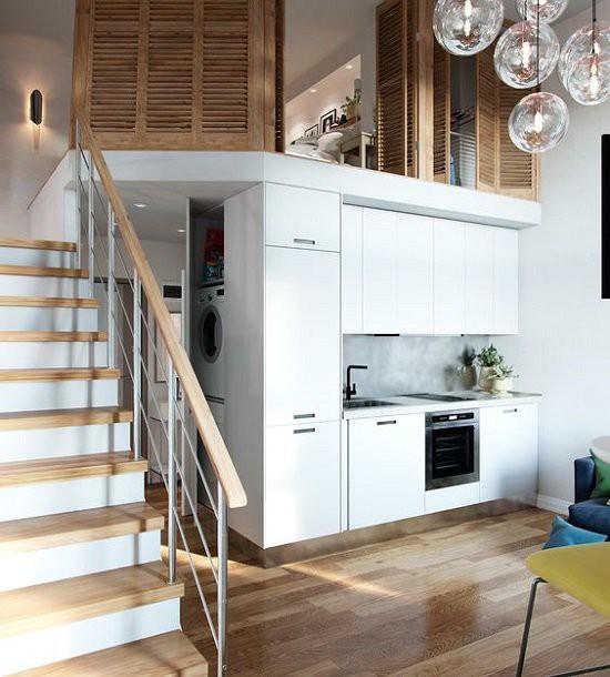 Thiết kế này phù hợp với những căn nhà cấp 4 có diện tích khiêm tốn với phòng khách, bếp, nhà tắm ở tầng dưới và khu vực nghỉ ngơi, sinh hoạt cá nhân ở tầng lửng.