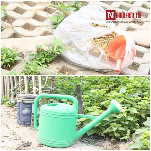 Những dụng cụ được bà con sử dụng để chăm sóc vườn rau xanh.