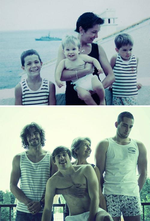 20 năm sau ngày chụp ảnh chung với mẹ, ba anh em đều đã trưởng thành. Cả ba có biểu cảm khuôn mặt giống hệt bức ảnh cũ.