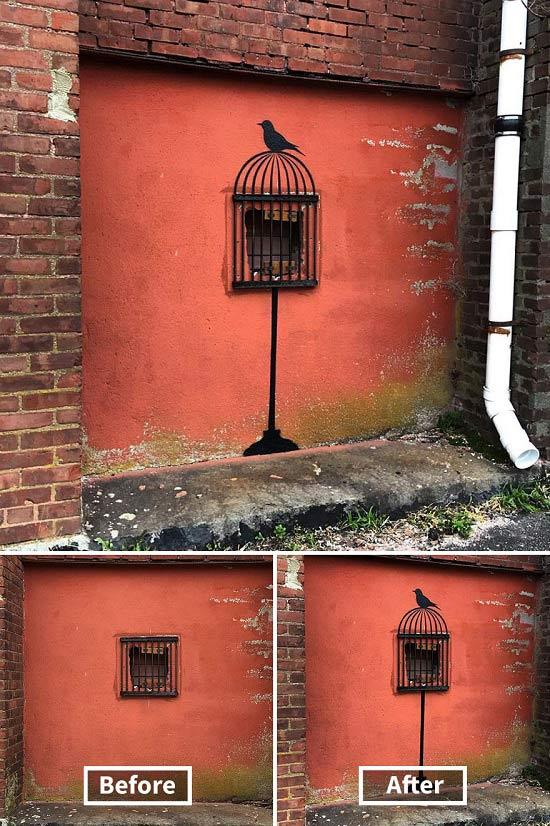 Khung cửa sổ có phần… thừa thãi bỗng hóa lồng chim một cách thần kỳ.