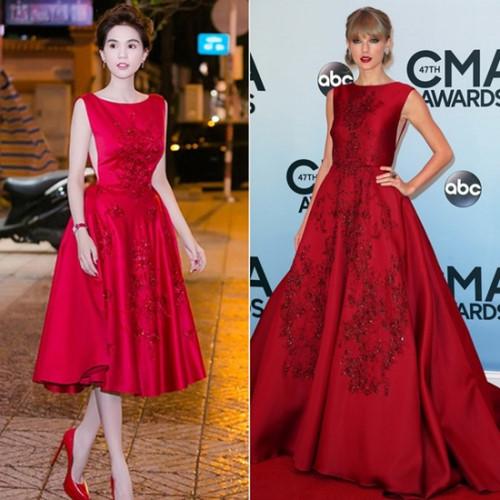 Bộ đầm đỏ của Ngọc Trinh lại tiếp tục giống với thiết kế của Elie Saab mà Taylor Swift từng diện tại lễ trao giải CMA Awards 2013. Hai trang phục tương tự nhau đến từng chi tiết như những viên đá đính kết trên bề mặt vải lụa hay kiểu dáng lưng trần gợi cảm, tuy nhiên, điểm khác biệt duy nhất chính là độ dài của váy .