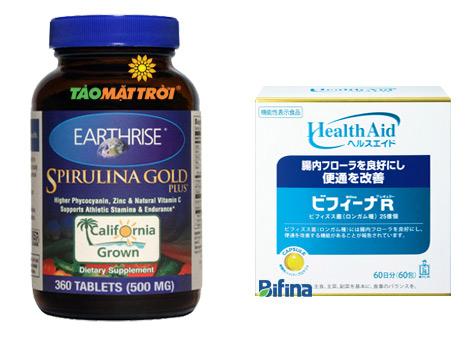 Bộ sản phẩm tăng cân Tảo Mặt trời và Men vi sinh Bifina R