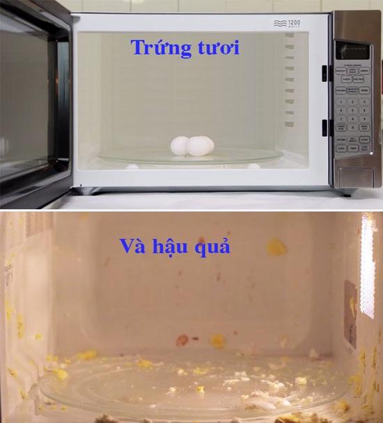 Thay vì cho trứng nguyên vỏ vào lò vi sóng, bạn nên đập trứng ra bát, có thể đánh tan lòng đỏ rồi sau đó mới cho vào lò vi sóng để tránh cháy nổ.