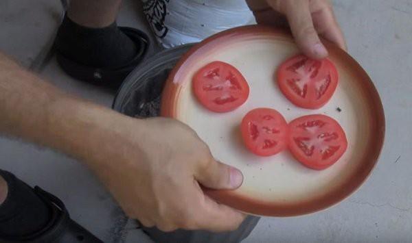 Trước tiên, thái một quả cà chua ra làm 5-6 lát có độ dày vừa phải.