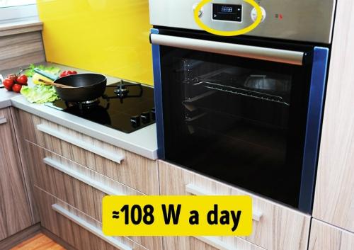 Các thiết bị có bộ hẹn giờ tiêu tốn 108 W điện một ngày.