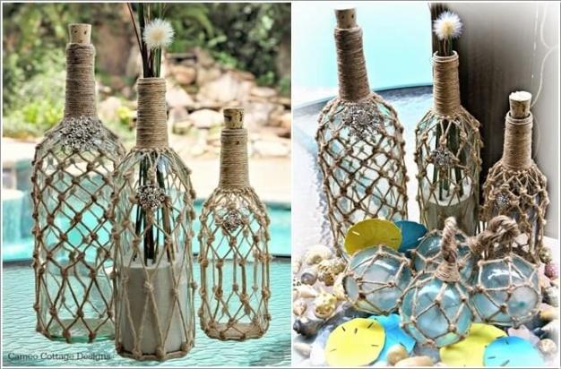 5. Dùng lưới để bọc những chiếc chai thủy tinh, chúng có nhiệm vụ giúp góc nhỏ ngoài trời đẹp bình yên và tinh tế hơn.