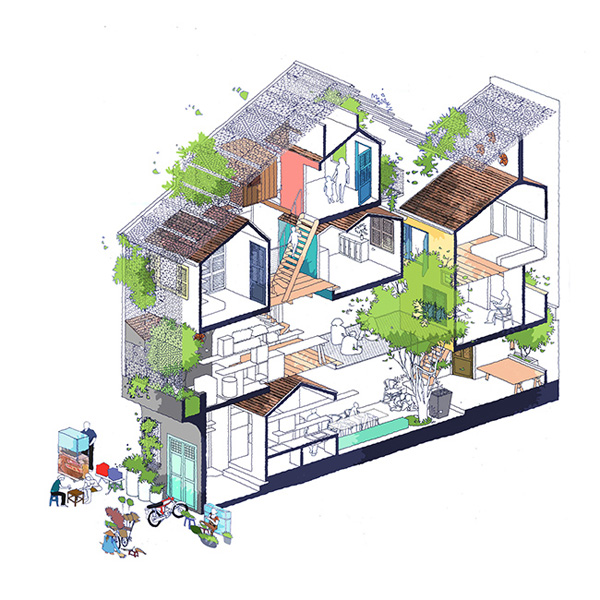 Không gian bên trong được chia thành nhiều ô nhỏ, mỗi ô như một ngôi nhà riêng biệt lập, tất cả kết nối với nhau bởi những bậc cầu thang 60 độ.