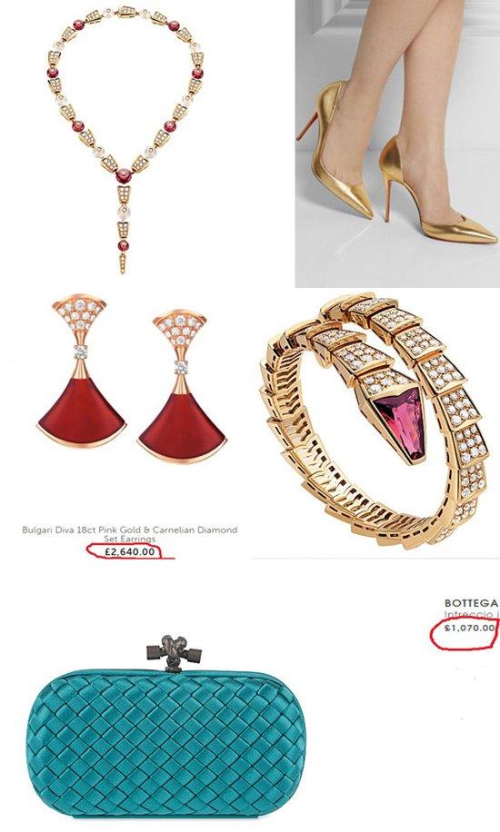 Trong đó, vòng cổ kim cương Bvlgari có giá khoảng 1,2 tỷ đồng, vòng tay kim cương trị giá hơn 840 triệu đồng, khuyên tai Bvlgari 58 triệu đồng, ví Bottega Veneta hơn 23 triệu đồng và giày Christian Louboutin khoảng 13,5 triệu đồng.
